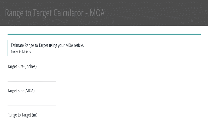 Image showing the MOA Reticle Formula Calculator