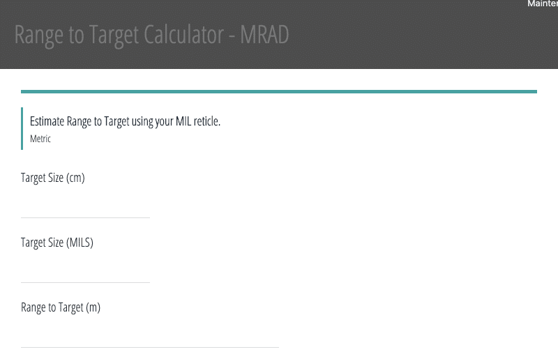 Image of the Mil Dot Formula Calculator